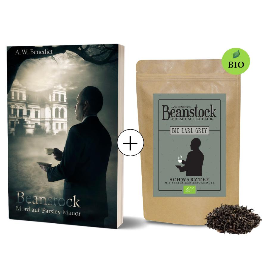 Beanstock Krimi Geschenkset aus Buch und Tee